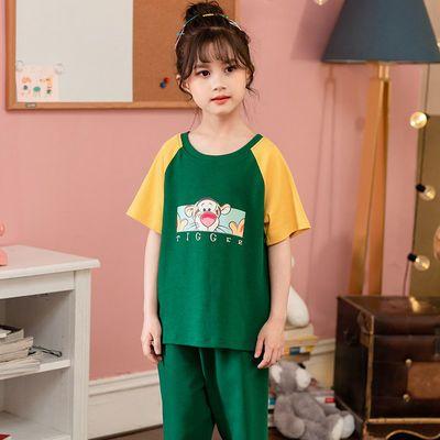 儿童睡衣女童夏季纯棉薄款短袖套装女宝宝中大童可爱公主风家居服