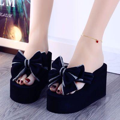 拖鞋女士夏季时尚坡跟厚底外穿百搭2020新款韩版夹脚高跟人字拖