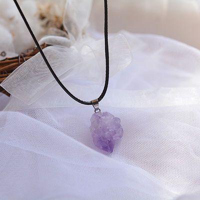 天然紫水晶原石吊坠紫晶簇项链转运紫晶簇锁骨链生辰石女时尚饰品