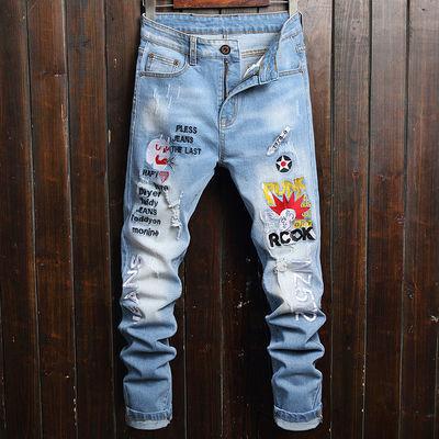 韩版字母印花个性破洞牛仔裤男潮流修身小脚裤男士浅蓝色长裤