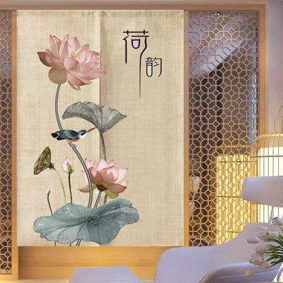 中式中国风荷花禅意门帘卫生间厕所挡煞布艺风水帘客厅卧室隔断帘