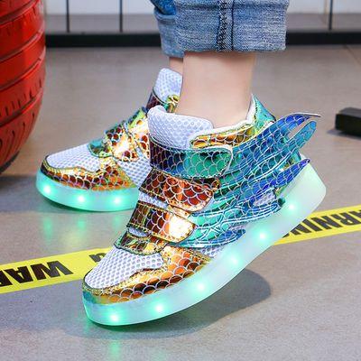 网面儿童发光鞋USB充电男童亮灯鞋女童led闪光鞋夜光鞋带亮灯童鞋