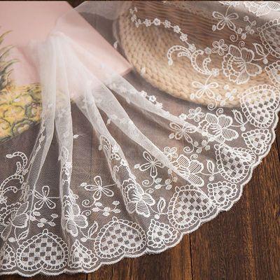 32CM宽 白色刺绣网纱蕾丝花边辅料手工DIY服装裙子装饰布艺宽32CM