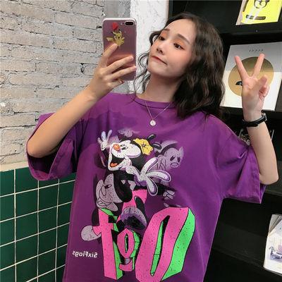 2020含棉新款韩版学生百搭印花chic港风半袖宽松紫色短袖t恤女夏