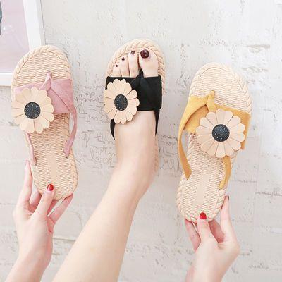 2020新款夏季平底防滑女士人字拖外穿海边花朵沙滩鞋度假凉拖鞋潮