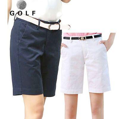 高尔夫短裤女白色纯棉舒适透气运动五分裤子GOLF球裤夏季修身中裤