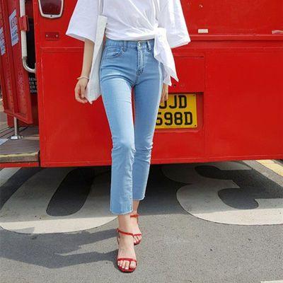 浅蓝色直筒牛仔裤女2020夏装韩版高腰弹性修身显瘦百搭学生九分裤