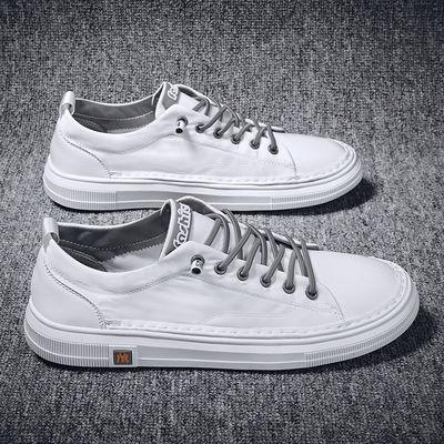 男鞋夏季透气帆布鞋男士白色板鞋韩版休闲百搭潮流一脚蹬雨伞布鞋