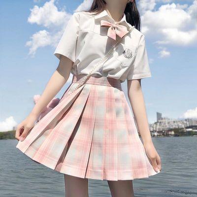 现货多色【jk两件套】夏季新款jk制服日系学生格子裙女百褶裙套装