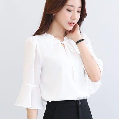 中袖雪纺衫女喇叭袖2020春夏装新款碎花五分袖印花短袖上衣白衬衫