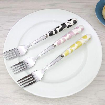 韩式可爱牛奶纹陶瓷柄不锈钢勺子创意长柄吃饭勺调羹汤匙搅拌勺子