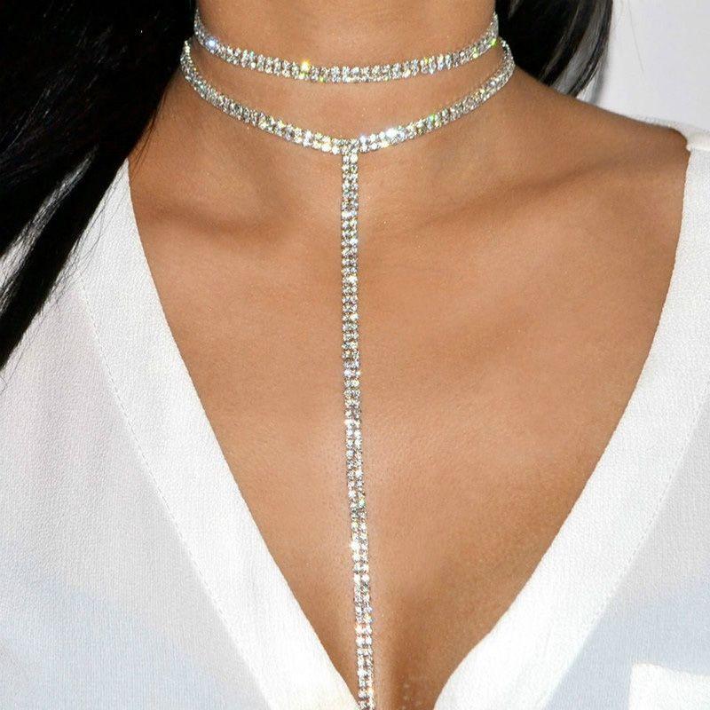 韩版T形性感超闪水晶满钻双层颈链长款项链