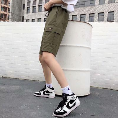 工装短裤女夏高腰宽松直筒bf风休闲中裤嘻哈港风ins潮运动五分裤