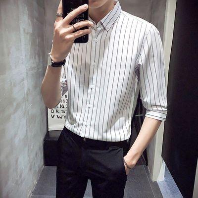 夏装男士短袖衬衫T恤英伦修身条纹衬衣INS潮流休闲中袖七分袖衬衫