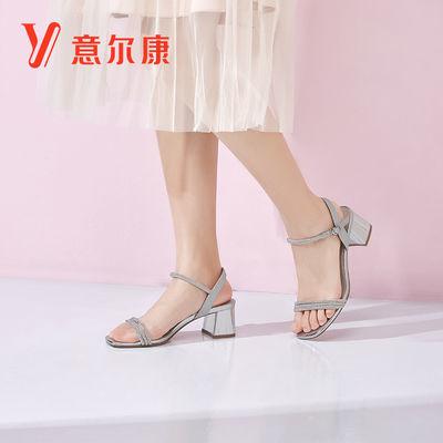 意尔康夏季新款中跟百搭一字带粗跟夏露脚趾女凉鞋