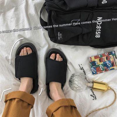 夏季拖鞋ins男士韩版魔术贴个性一字拖陈冠希同款潮牌时尚沙滩鞋