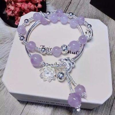 天然薰衣草紫水晶手链女韩版手串多层925银饰品生日礼物女转运