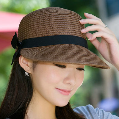 帽子女士夏天草帽遮阳沙滩帽防晒太阳帽鸭舌帽马术帽户外出游帽子