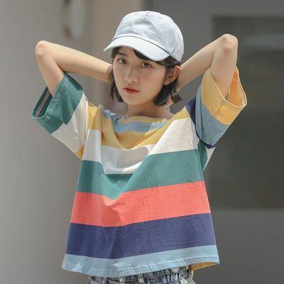 网红T恤女短袖女学生韩版宽松ins泫雅风圆领夏季百搭上衣彩虹条纹