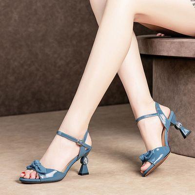 2020夏季新款漆皮高跟凉鞋女细跟时尚蝴蝶结一字扣带鱼嘴百搭女鞋