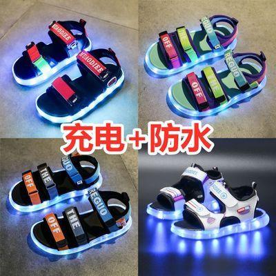 防水儿童发光凉鞋男女童USB充电亮灯鞋led七彩闪光夜光鞋带灯童鞋