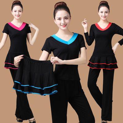 广场舞服装新款套装夏中老年跳舞衣成人运动舞蹈服分体式三件套女