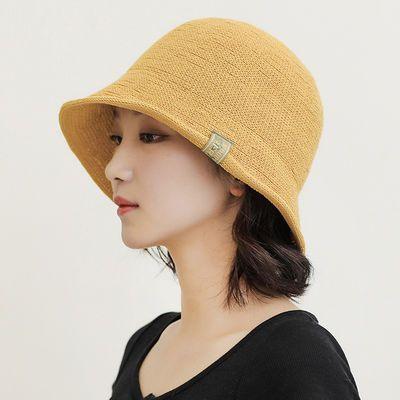 新款短帽檐水桶帽夏天透气帽子女士布标针织盆帽女韩国纯色渔夫帽