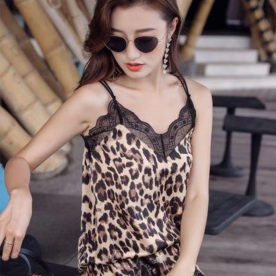 2019美背吊带背心女性感新款豹纹蕾丝打底衫吊带上衣女夏