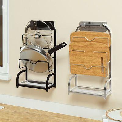 304不锈钢锅免打孔壁挂式锅盖架厨房砧板菜板收纳架子厨房置物架