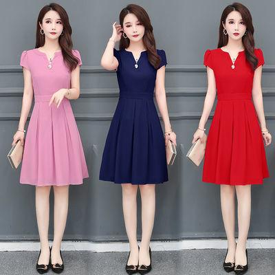 小个子雪纺连衣裙女2020年夏新款大码女装收腰显瘦35到40岁中长款