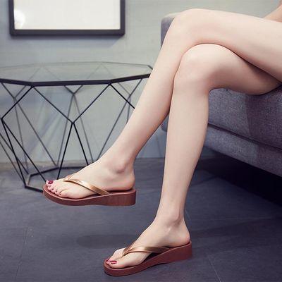 信意美夏季拖鞋女士厚底坡跟人字拖夹趾防滑新款沙滩凉休闲外穿软