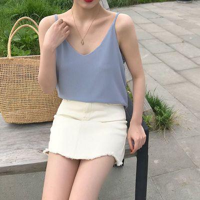 FREE VALLEY新款上衣纯色雪纺吊带小背心双层有内衬V领显瘦外穿