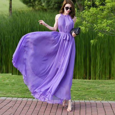 超长及踝长裙2020新款波西米亚纯色雪纺大码连衣裙度假沙滩裙超仙
