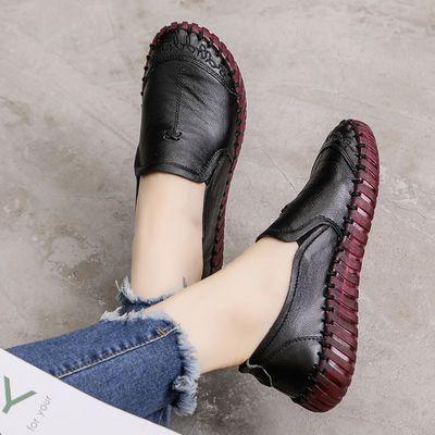 莘芮头层牛皮牛筋软底大码妈妈鞋真皮舒适洞洞凉鞋平底鞋深口单鞋