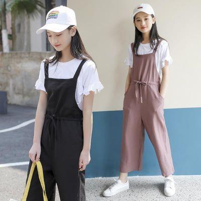女童童装2020新款女孩背带裤套装儿童时髦薄款夏装中大童洋气衣服