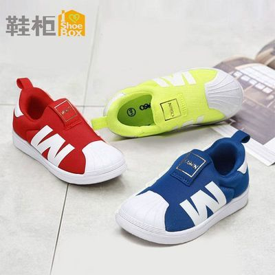 SHOEBOX/鞋柜 春秋帆布鞋男童休闲圆头板鞋运动鞋女童透气鞋