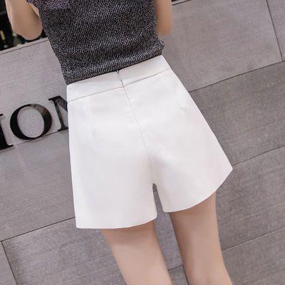 白色高腰雪纺短裤女夏季新款学生宽松大码西装休闲显瘦阔腿a字裤
