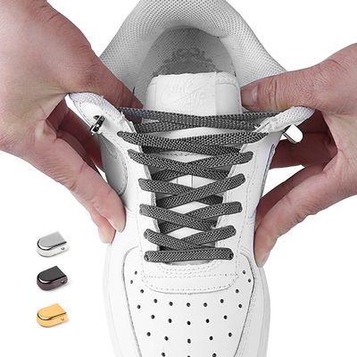 弹力松紧懒人鞋带免系金属扣小白鞋扁平鞋带绳儿童男女板鞋皮鞋带