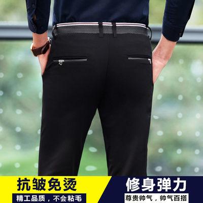 春夏季薄款裤子男弹力抗皱青年男士休闲裤修身抗皱西裤休闲长裤