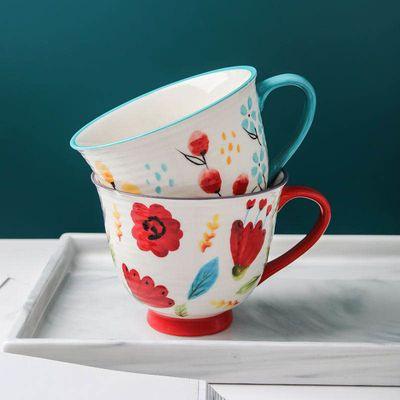 陶瓷网红早餐杯子女ins韩版可爱手绘大容量牛奶咖啡情侣马克杯垫