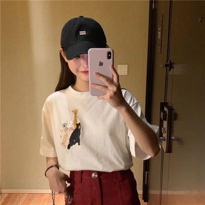 实拍2020夏装新款韩版女装上衣纯棉宽松短袖半袖卡通T恤女ins学生
