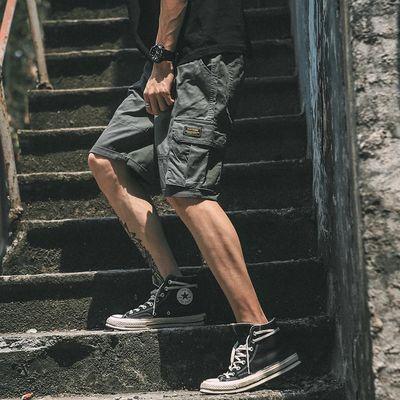 原宿口袋嘻哈宽松短裤男余文乐夏季工装短裤男潮牌街头工装五分裤
