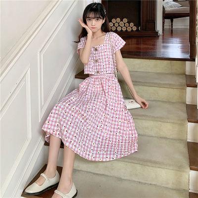 新款套装裙两件套夏小碎花淑女气质短款上衣裙子长款高腰显瘦时尚