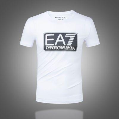莫代尔男士短袖T恤韩版修身潮流白色圆领印花百搭T恤EA7打底衫