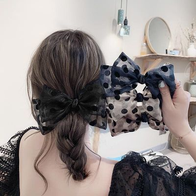 韩国纱波点发夹后脑勺甜美气质顶夹大号蝴蝶结弹簧夹优雅夹子头饰