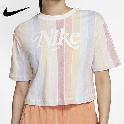 Nike耐克短袖女2020夏季新款运动休闲宽松圆领短款T恤CJ2503-100
