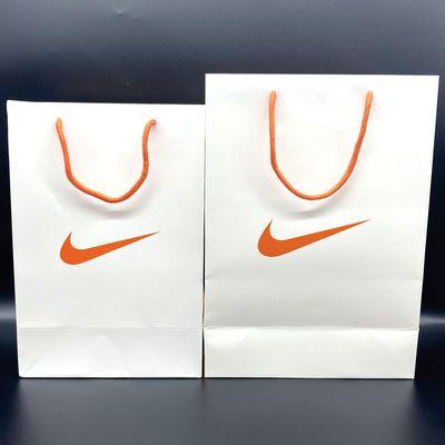 耐克 NIKE现货大中号纸袋 橘黄绳手提袋子购物袋潮牌纸袋白卡橘标