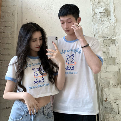 FREE VALEEY  韩版宽松短款印花短袖T恤ins超火情侣装上衣潮女