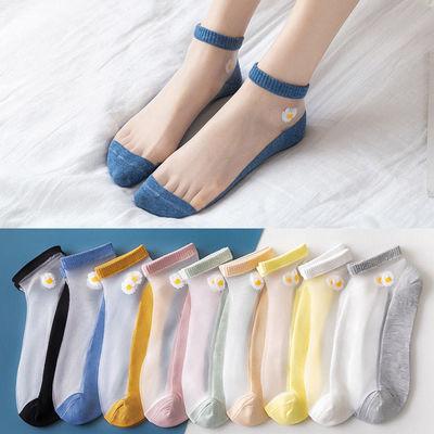 袜子女夏季薄款小雏菊卡丝袜船袜ins韩版女士短袜中筒学院风