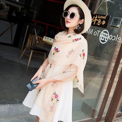 春夏季韩版刺绣民族风雪纺围巾女超大丝巾空调披肩长款防晒沙滩巾